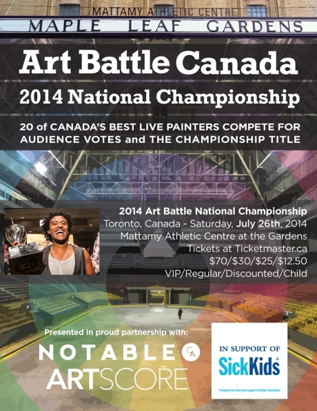 Lazarus is selected to be one of just 20 artists from across Canada to paint live to compete for the National Championship title. July 2014