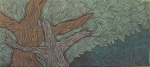 """Oliphorest Treebird Spring"" acrylic on wood, 36″ x16″"